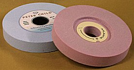 blue and pink grinding wheels